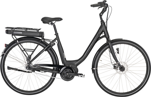 Black Winther E2 Dame 5 LED-display Nex 7g FodHydr. 50cm Matsort m. sort U. bat 2018 Klassisk Citybike