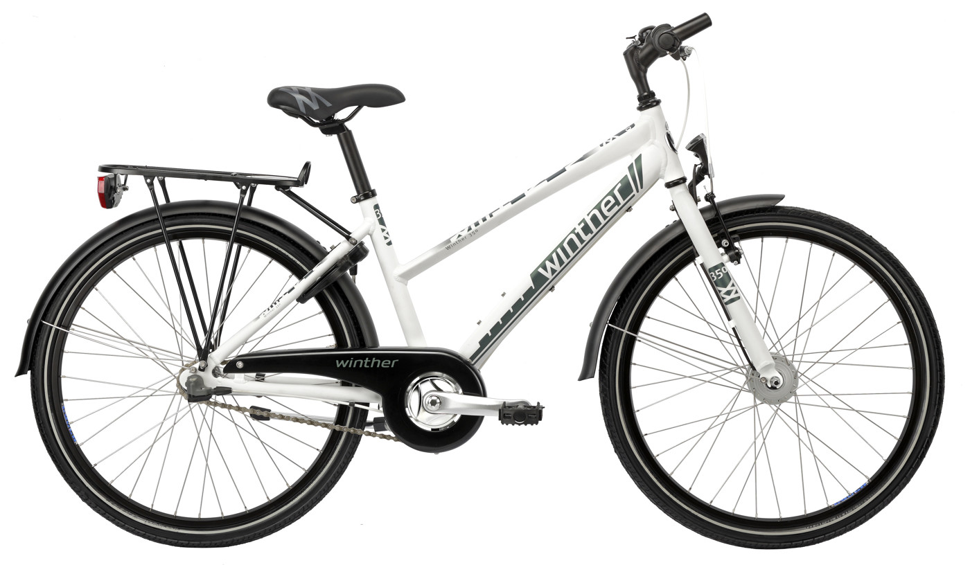 Winther 350 dirt girl 24in 3 speed Shimano Coaster Mat white/Petrol green 2016  Citybike