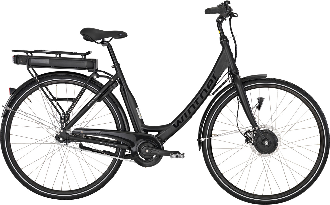 Black Winther E1 Dame 5 LED-display Nex 7g FodHydr. 50cm Matsort m. sort U. bat 2018 Klassisk Citybike